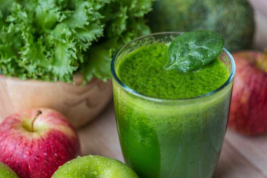 Green rich natural vitamin K smoothie, ideal for life extension.